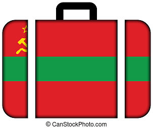 Flag of Transnistria. Suitcase icon, travel and transportation concept