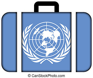 Flag of United Nations Suitcase icon, travel and...
