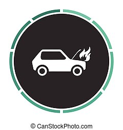 Car fired computer symbol - Car fire Simple flat white...
