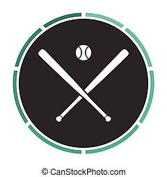 baseball computer symbol - baseball Simple flat white vector...