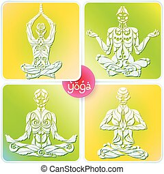 Yoga Four Logo - 4 Yoga man in the lotus position in the...