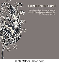 ethnic background in boho style - Hand drawn monochrome card...