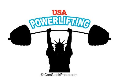 USA powerlifting emblem. strong Statue of Liberty barbell bench press. Fitness Sign American National Bodybuilding