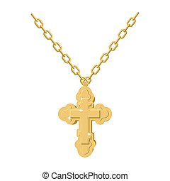 Golden cross necklace on chain of gold jewelry. crucifix Orthodox symbol of expensive jewelry. Christian and Catholic Accessory precious yellow metal. Fashionable Luxury treasure