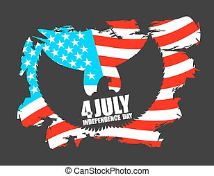 Independence Day America Symbol of countrys eagle with wings...