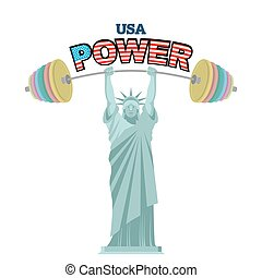 USA power. Powerful Statue of Liberty barbell bench press....