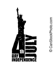 Independence Day in America. Statue of Liberty in grunge style. Logo for national patriotic holiday. Attractions New York City