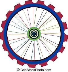 Bicycle wheel isolated on white, vector bike wheels