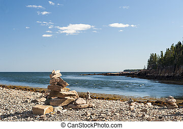 Stacked rocks Acadia National Park - Carefully balanced...