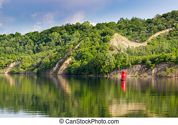 A navigational buoy - A navigational signal buoy in river...
