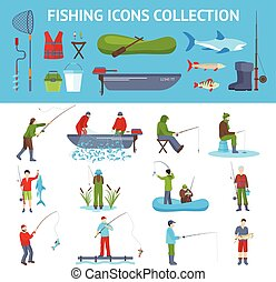 Fishing Flat Icons 2 Banners Set - Fishing gear and...
