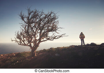 Person on the cliff