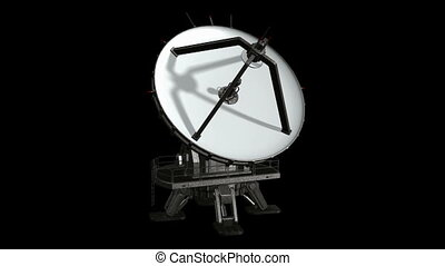 Satellite Dish Animation 2. Isolated on black, with alpha...