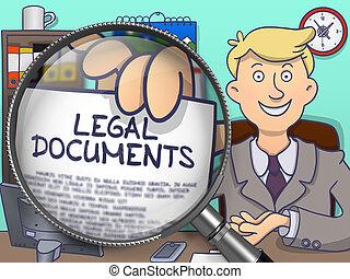 Legal Documents through Lens. Doodle Design.