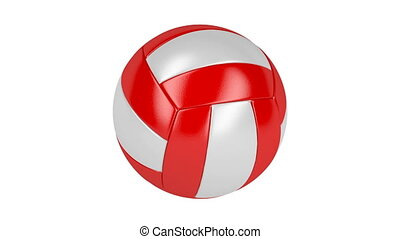 Volleyball ball - Red and white volleyball ball spin on...
