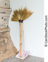 Double broom with dustpan for cleaning the house