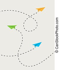 color paper planes in routeeps - color paper planes in route...