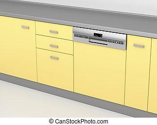 Modern dishwasher in the kitchen