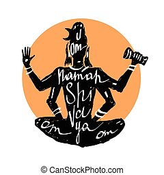 Lord Shiva Typography poster - Lord Shiva Meditation in...