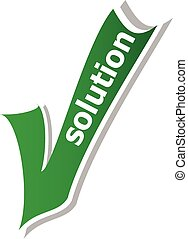 solution word on green check mark symbol and icon for approved design concept and web graphic on white background.