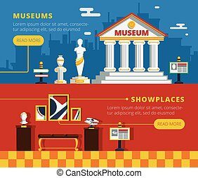 Museum Banner Set - Museum banner set with museum abstract...