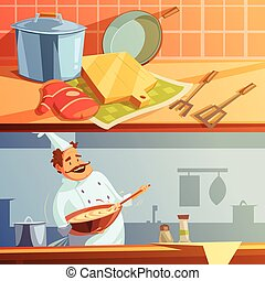 Cooking Banners Set - Cooking cartoon horizontal banners set...
