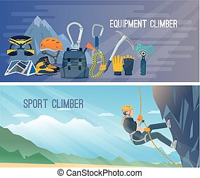 Climbing Banner Illustration - Horizontal color banners with...