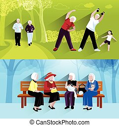 Elderly People Horizontal Banners Set - Elderly People...