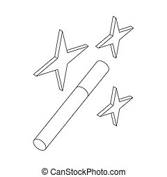 Magic wand icon, isometric 3d style - Magic wand icon in...