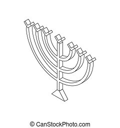 Hanukkah menorah, isometric 3d icon - Hanukkah menorah icon...