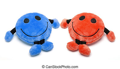 Smiley Soft Toys on White Background