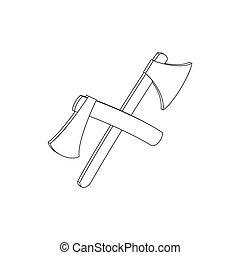 2 axe, isometric 3d icon - 2 crossed axe icon in isometric...