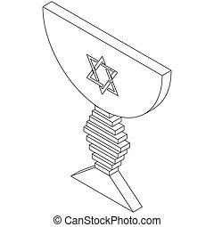 Judaic bowl, isometric 3d icon - Judaic bowl icon in...