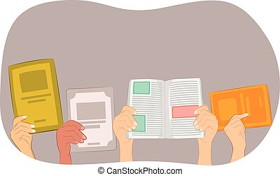 many hands holding a blank book and text books on white...