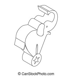 Elephant on the ball icon, isometric 3d style