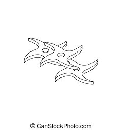 Flying knife, isometric 3d icon - Flying knife icon in...