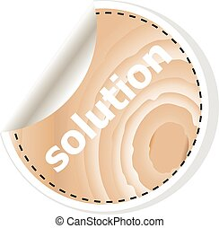 solution word on vector business wooden app icon isolated on white background.