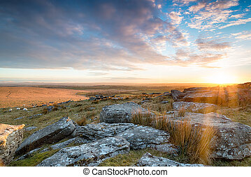 Alex Tor - Stunning sunset over Bodmin Moor from Alex Tor...