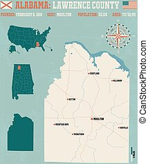 Lawrence County in Alabama USA - Large and detailed map and...