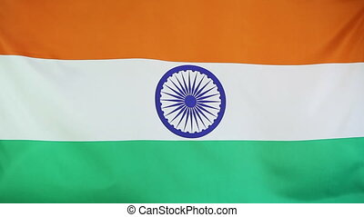 Textile national flag of India moving in the wind