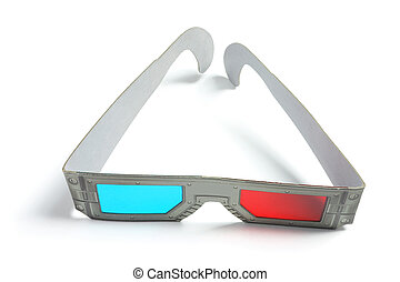 3-D Glasses on White Background