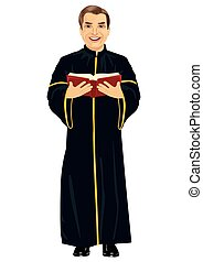 Mature christian priest in cassock holding a holy bible on...