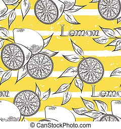 Lemons on yellow stripes. Horizontal brush strokes seamless...