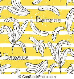 Bananas on yellow stripes. Horizontal brush strokes seamless...