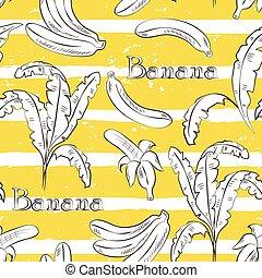 Bananas on yellow stripes. Horizontal brush strokes seamless...