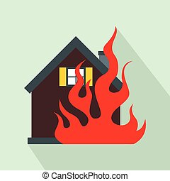 House on fire icon, flat style - House on fire icon in flat...