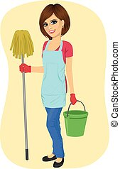 young beautiful cleaning maid woman with bucket and mop...