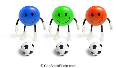Smiley Toys and Footballs on White Background