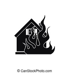 House on fire icon, simple style - House on fire icon in...