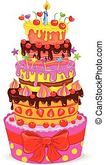 Celebratory cake - Celebratory beautiful cake with fruits,...